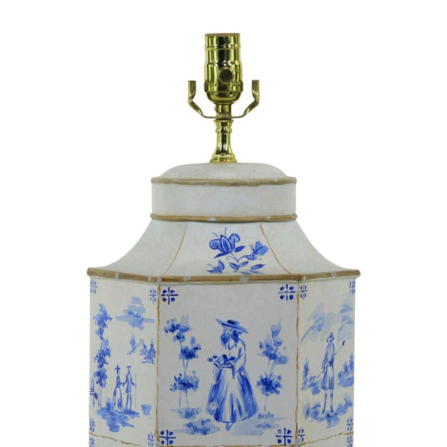 1990s Vintage English Hand-Painted Blue and White in Delf Figures Tea Caddy Table Lamp For Sale - Image 5 of 7