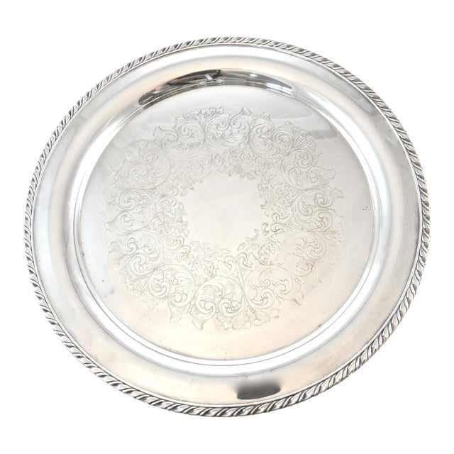 Silver Plate Chased Tray For Sale