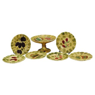 Mid-Century French Majolica Set, 7Pcs For Sale