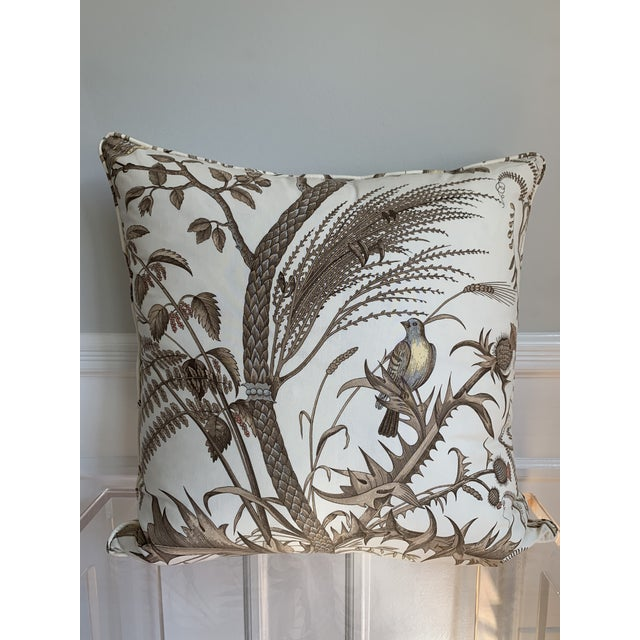 Brunschwig & Fils Brunschwig & Fils Bird and Thistle Cotton Print Pillow For Sale - Image 4 of 4