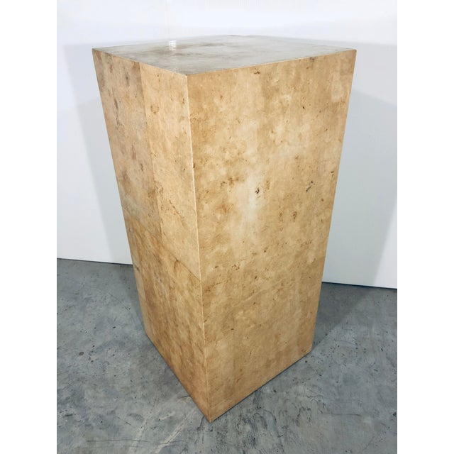 Karl Springer Style Decorative Parchment Display Pedestal For Sale - Image 13 of 13