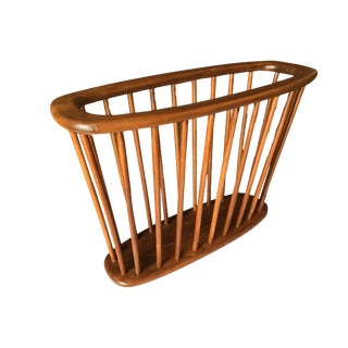 Danish Modern Teak Spindle Magazine Rack by Arthur Umanoff For Sale