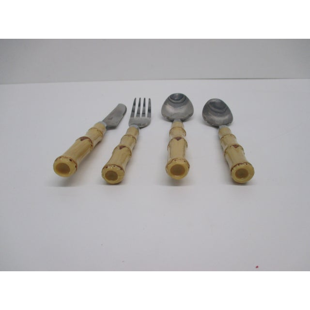 Boho Chic Set of Forty (40) Pieces Silverware With Bakelite Bamboo Style Handles For Sale - Image 3 of 6