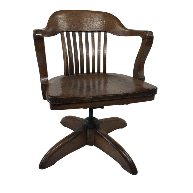 Admirable Vintage Industrial Wood Banker Chair With Swivel Base Lamtechconsult Wood Chair Design Ideas Lamtechconsultcom