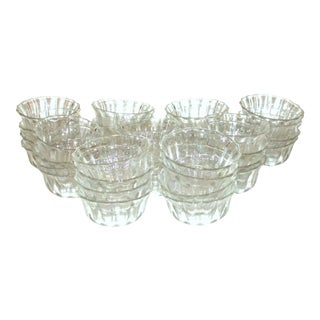 Vintage Glass Dessert Luncheon Bowls Cups Set of 36 MCM Art Deco