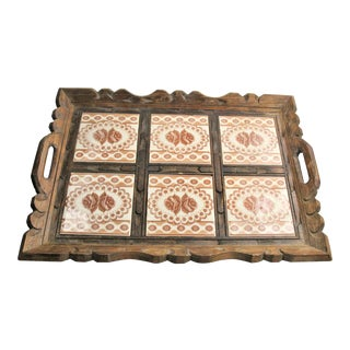 Primitive Hand Carved Wood Serving Tray With Ceramic Tiles For Sale