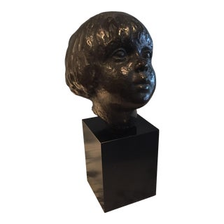 20th Century Bronze Bust of Young Child