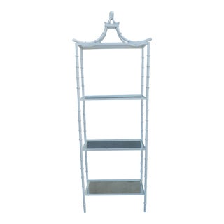 1960s Boho Chic Towering White Faux Bamboo Metal Pagoda Top Etagere For Sale