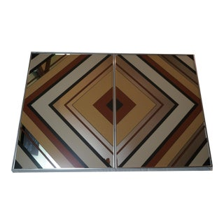 1970's Graphic Reflection Wall Art Mirrors - A Pair