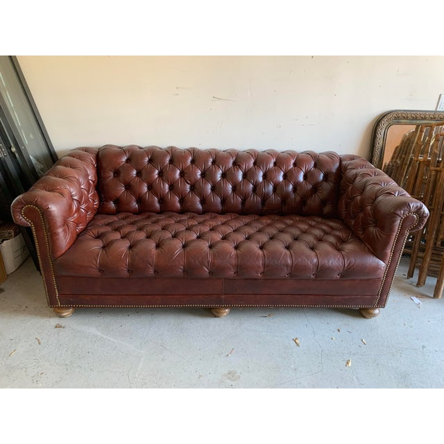Vintage Chesterfield Leather Sofa For Sale - Image 9 of 9