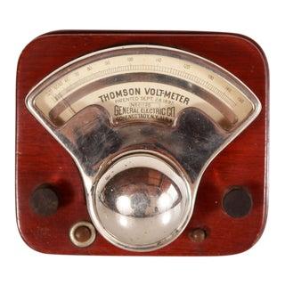 1890s Antique Chrome Electric Volt Meter For Sale