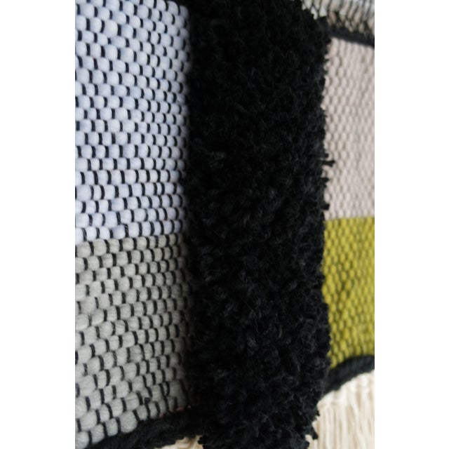Handwoven Blue, Green, Tan, Grey, Black, and Cream Wall Hanging - Image 5 of 6