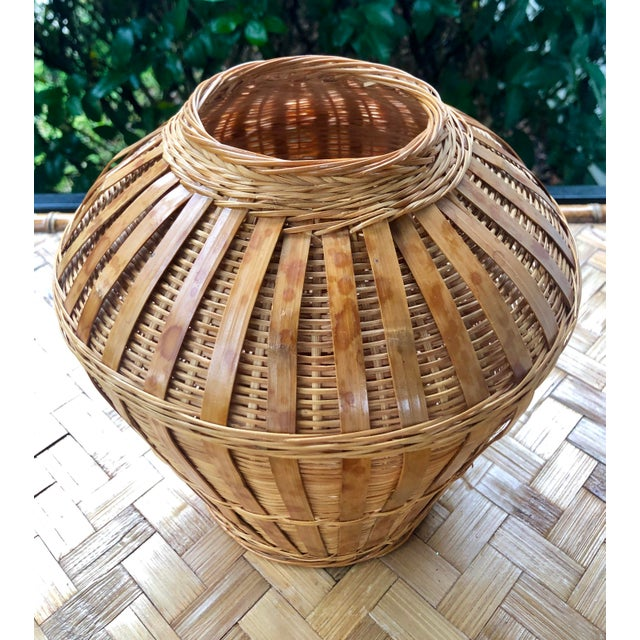 Boho Chic Vintage Mid-Century Natural Woven Wicker Rattan Basket Urn For Sale - Image 3 of 9
