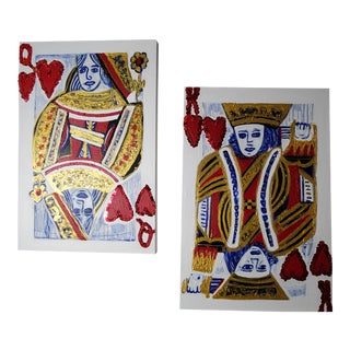 King and Queen of Hearts Paintings - A Pair For Sale