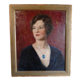 """1930s """"Young Woman Wearing a Blue Locket"""" Portrait Oil Painting by Pietro (Peter) Pezzati, Framed For Sale"""