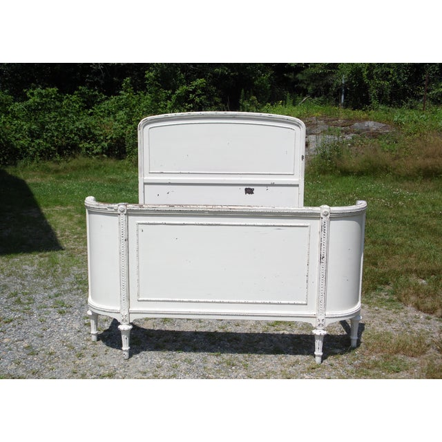 White Antique Solid Wood White Painted Cottage Shabby Chic Double Full Bed C.1920's For Sale - Image 8 of 13