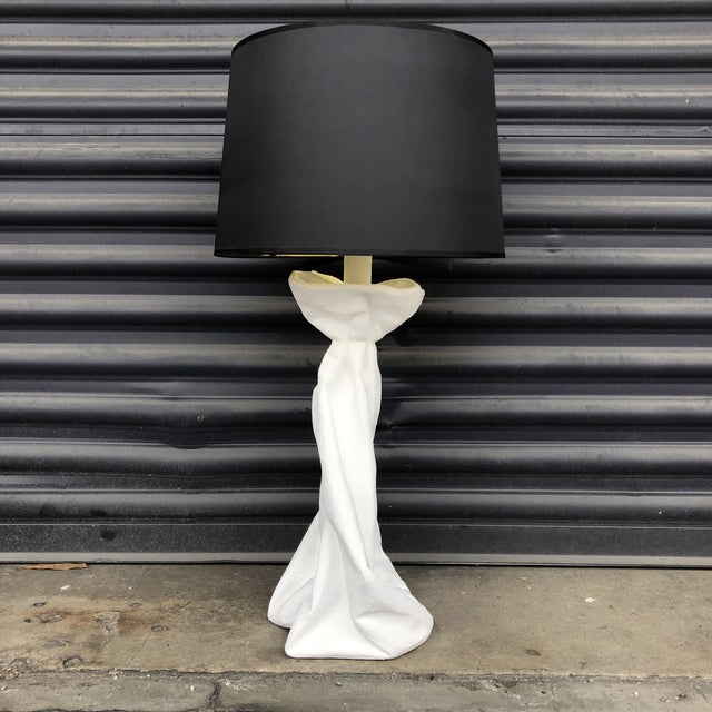 Vintage John Dickinson Style Knotted Draped Plaster Lamp For Sale - Image 12 of 13