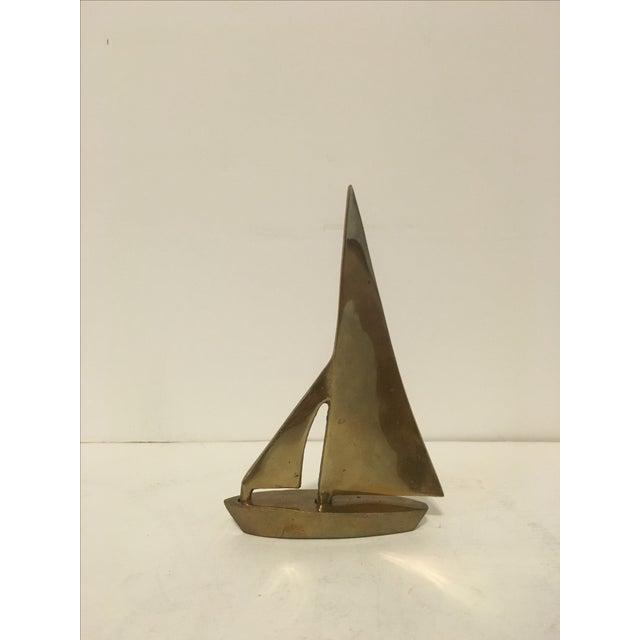 Brass Sailboat Sculpture - Image 2 of 4