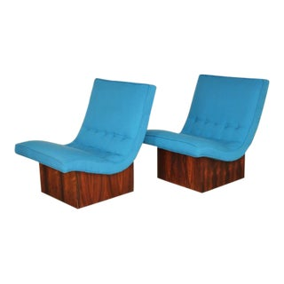 1960s Vintage Milo Baughman for Thayer Coggin Mid-Century Modern Scoop Chairs - A Pair For Sale