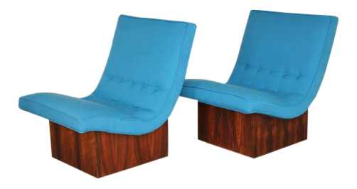 1960s Vintage Milo Baughman For Thayer Coggin Mid Century Modern Scoop  Chairs   A Pair