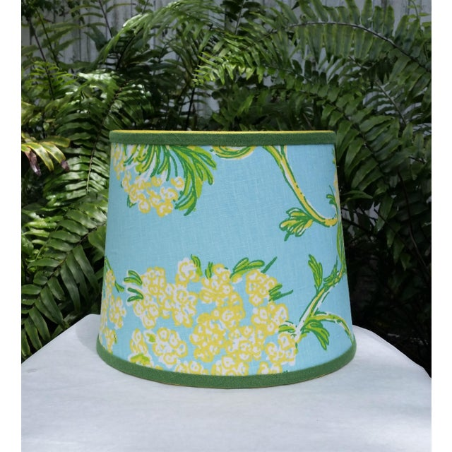 Blue Lilly Pulitzer Fabric Blue Floral Blue Green Yellow Tropical Lampshade For Sale - Image 8 of 12
