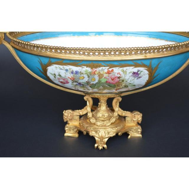 French Sevres Style Parcel-Gilt Ormolu Mounted Enameled Blue Celeste Bowl For Sale - Image 3 of 7