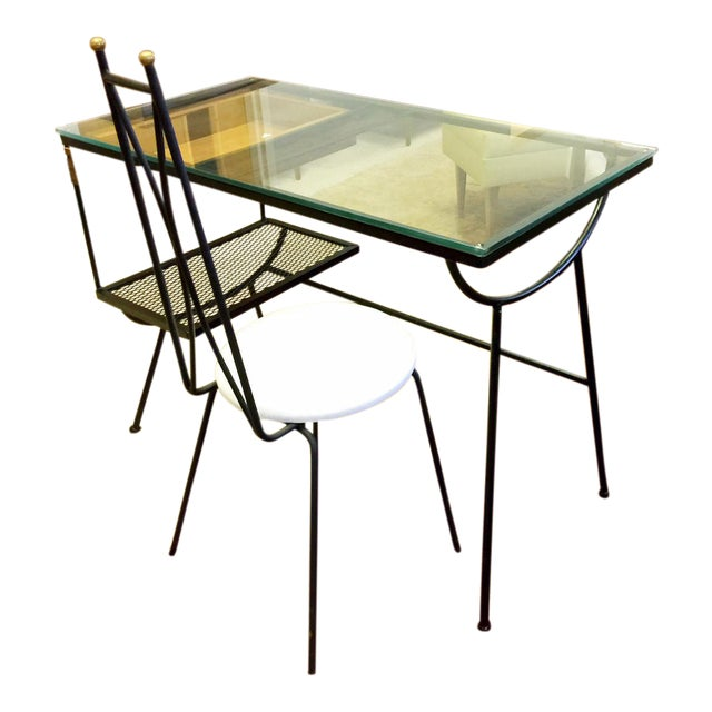 George Nelson for Arbuck Glass & Iron Desk & Chair - A Pair For Sale