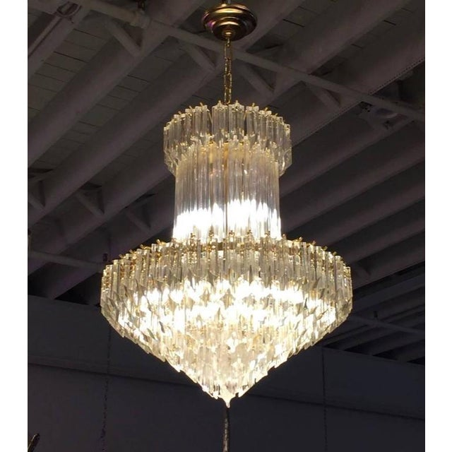 Gold Circa 1970 Camer Mid-Century Italian Murano Glass Chandelier For Sale - Image 8 of 10