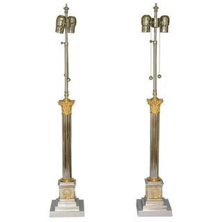Pair of Classical Column Lamps of Chrome & Brass For Sale