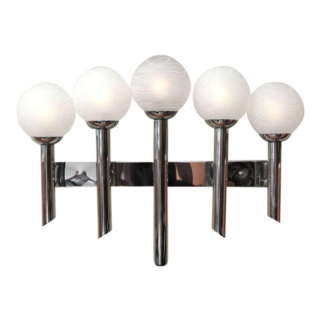 1970s Modern Chrome Five Arm Murano Globe Wall Sconce For Sale