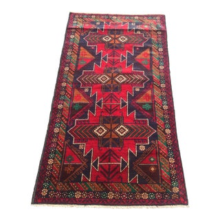 Brick Red Afghan Rizbaft Rug - 3′4″ × 6′4″