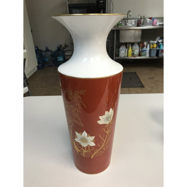 Stunning Jaeger & Co. porcelain vase. Exquisitely hand painted with a gorgeous golden and off-white floral design. Jaeger...