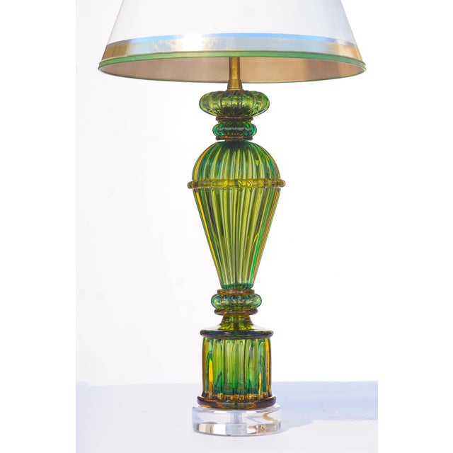 Italian Vintage Murano Glass Lamps - a Pair For Sale - Image 3 of 8