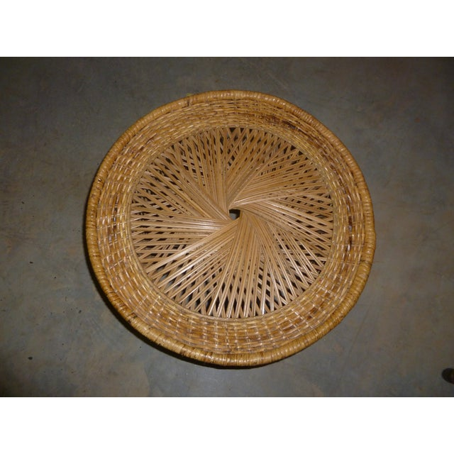 MCM Rattan Wicker Woven Round Side Table - Image 3 of 11