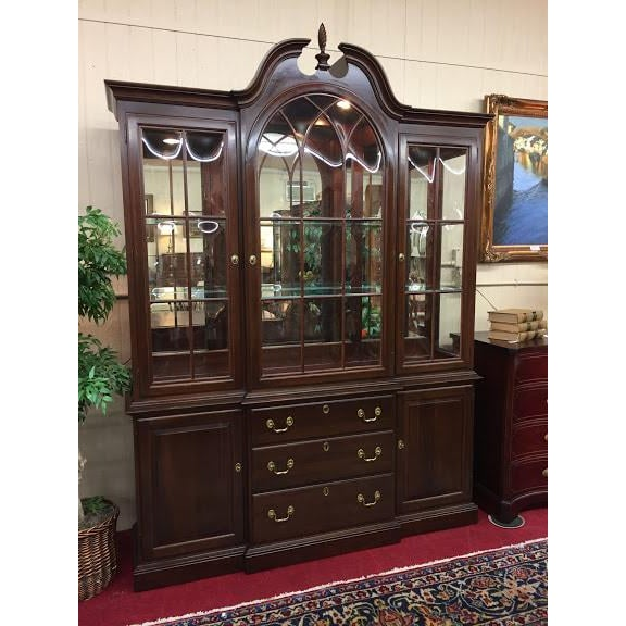 Ethan Allen Full Bonnet Solid Cherry China Cabinet For Sale - Image 12 of 12