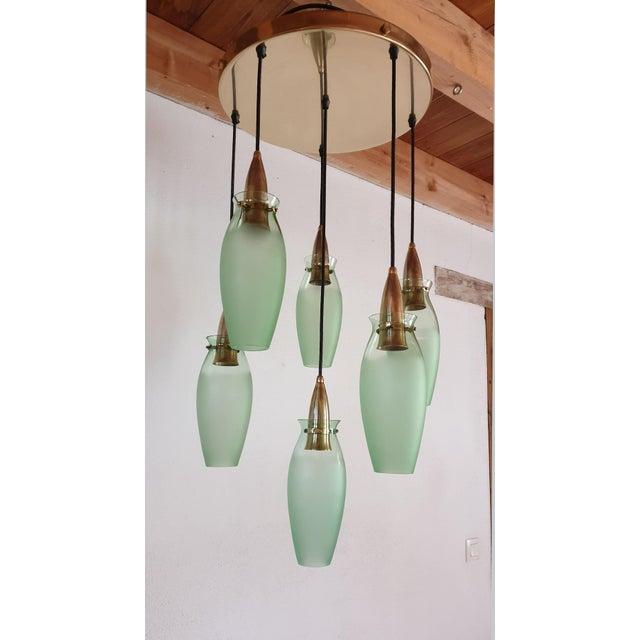 1960s Italian Mid-Century Modern Brass & Glass Flush Mount, Arredoluce For Sale - Image 5 of 13
