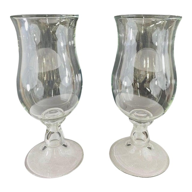 Modern Clear Glass Candleholder or Vase, a Pair For Sale