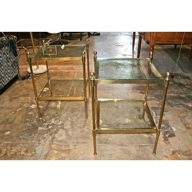 Italian Pair of Italian 1960s Two-Tier End Tables in Brass For Sale - Image 3 of 8
