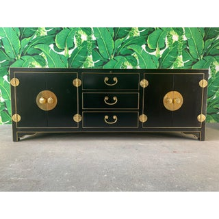 Black and Gold Heavy Brass Embellished Credenza Preview