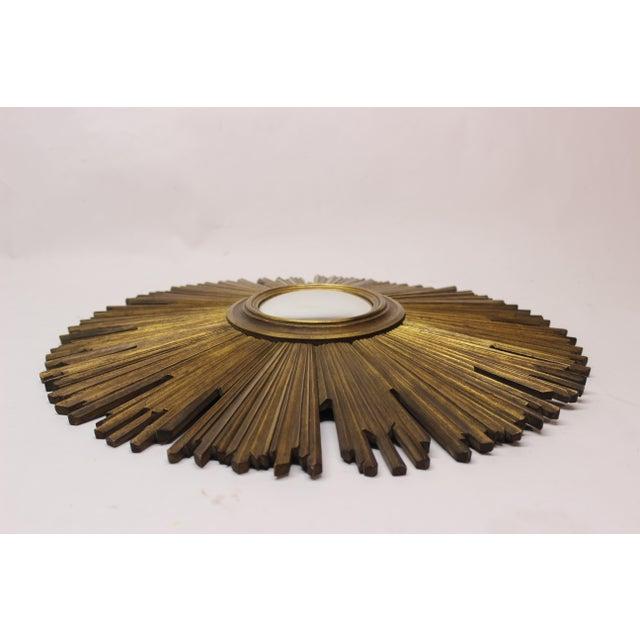 Hollywood Regency Gilt Sunburst Convex Mirror For Sale - Image 3 of 7