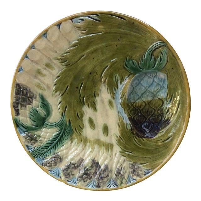 Majolica Asparagus Plate Saint Amand, Circa 1880 For Sale