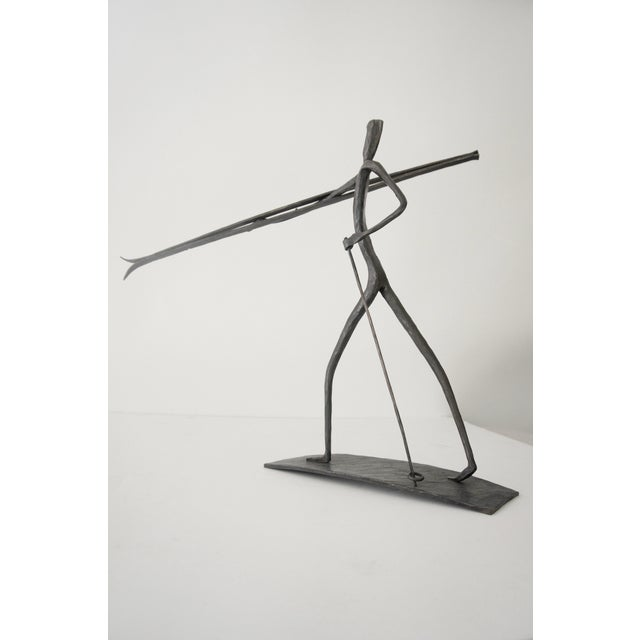 Mid 20th Century Bronze Skiing Figures Sculptures Initialed Bb Dated 1967 - a Pair For Sale - Image 5 of 8