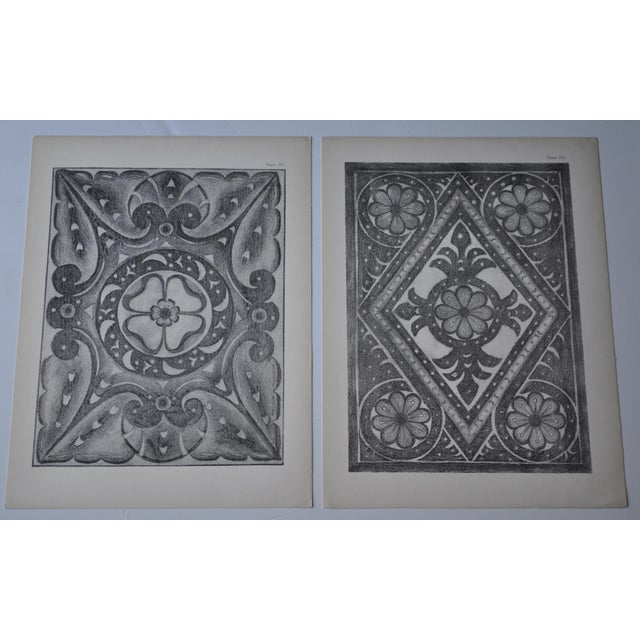 1906 English Photo-Tints, Charcoal Rubbings of Woodcarving - a Pair - Image 2 of 11