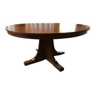"Stickley Round 62"" Arts and Crafts Oak Extension Dining Table For Sale"