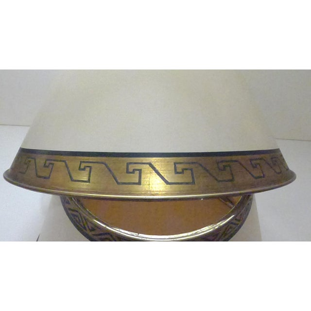 Pair of lamp shades were custom made by a French artist. Made from off-white parchment with hand-painted Greek key on gold...