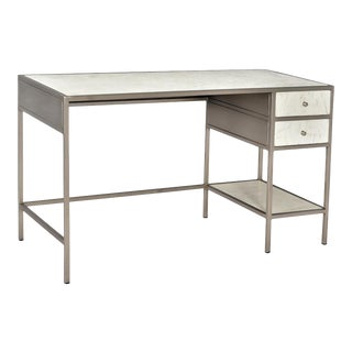 Modern Nickel & Marble Desk For Sale