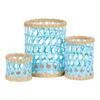 Light Blue Island Wrapped Hurricanes - Set of 3