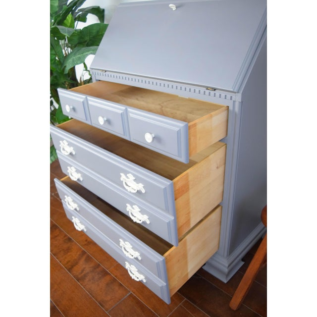 Wood Traditional Gray and Off White Secretary Desk For Sale - Image 7 of 8
