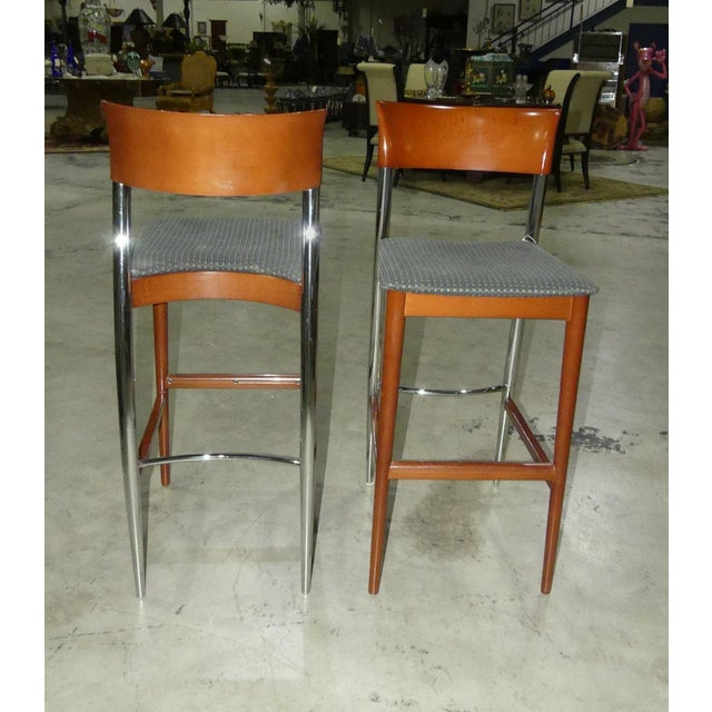 Mid-Century Modern 1970s Contemporary Loewenstein Wood Bar Stools - a Pair For Sale - Image 3 of 9