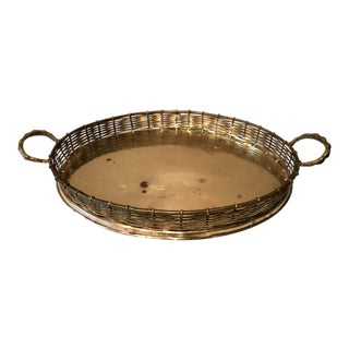 1970s Vintage Brass Tray For Sale